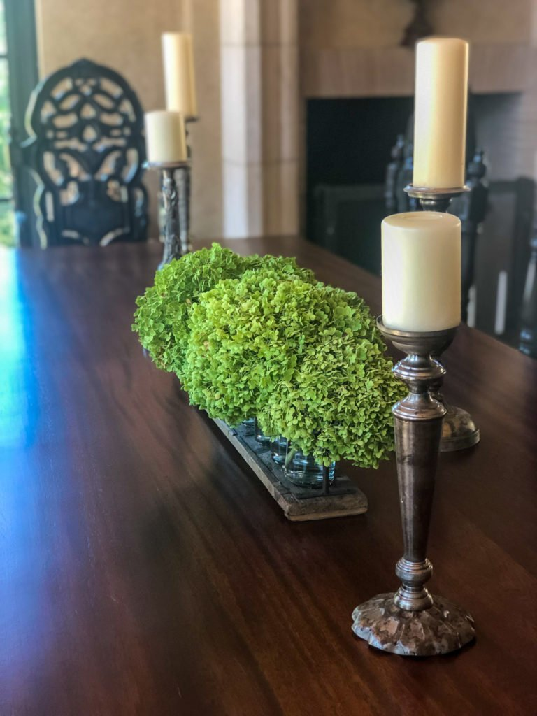 'Annabelle' hydrangea arrangement with silver candlesticks on dining room table - J Dub By Design