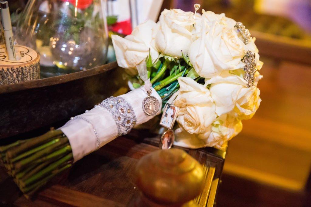 Jennifer Williams wedding bouquet on table - J Dub By Design