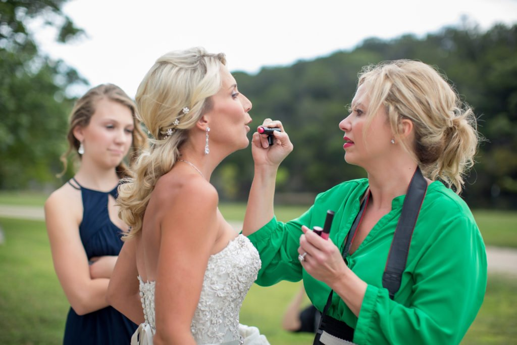 Monical applying lipstick to Jennifer Williams - J Dub By Design