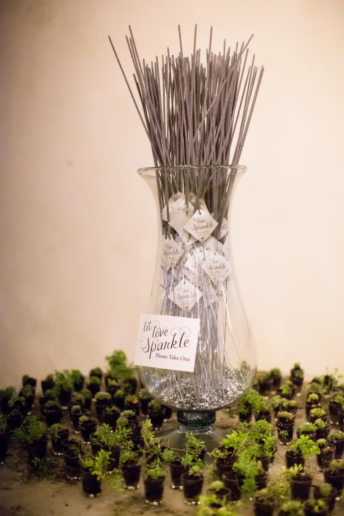 wedding sparklers in glass vase with succulents = J Dub By Design