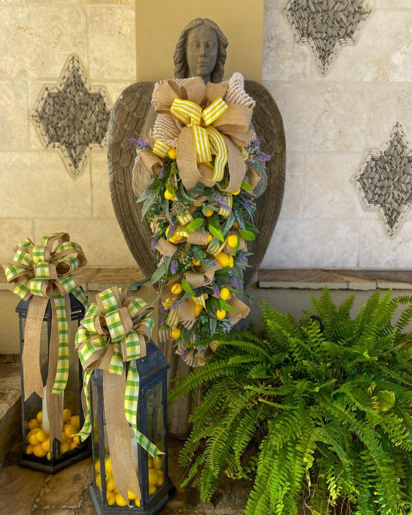 garden angel with boston fern and spring lanterns - J Dub By Design