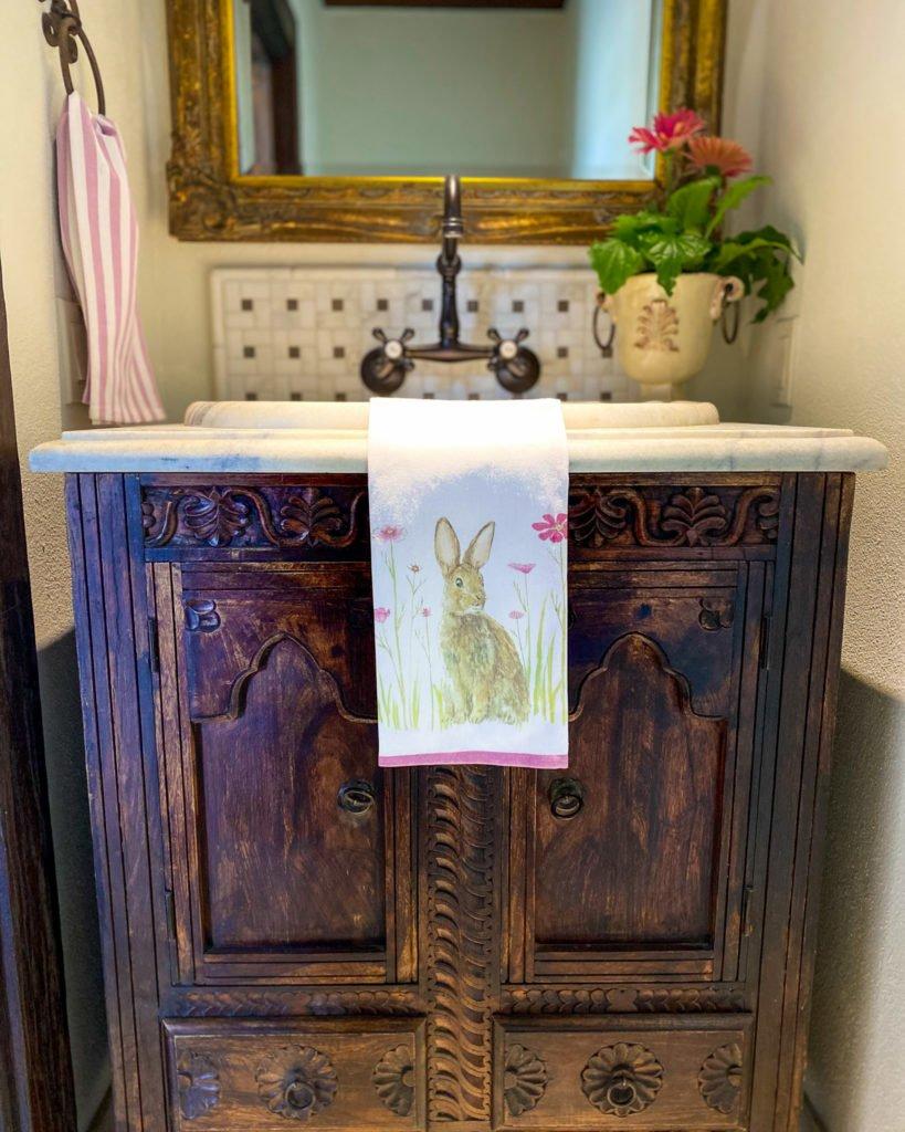 Bunny hand towel in powder bath - J Dub By Design