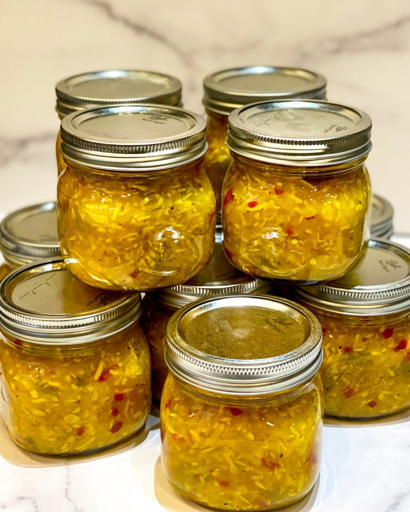 pint size jars of squash relish stacked - J Dub By Design