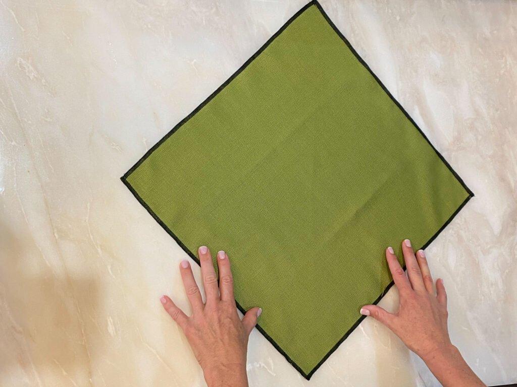 green napkin on counter