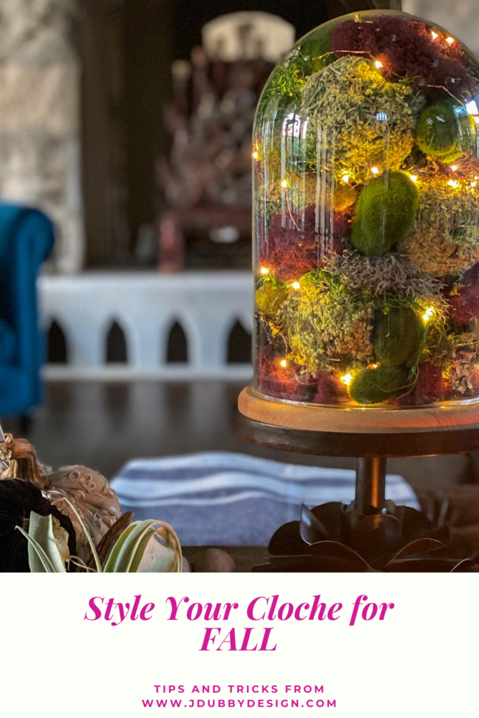cloche with battery operated lights and reindeer moss - J Dub By Design