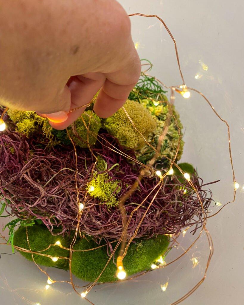 adding lights to reindeer moss - J Dub By Design