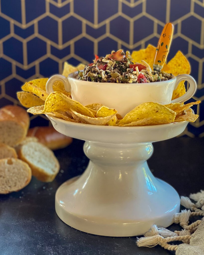 monterey jack salsa in white bowl on pedestal - J Dub By Design