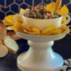Monterey Jack Salsa on white pedestal - J Dub By Design
