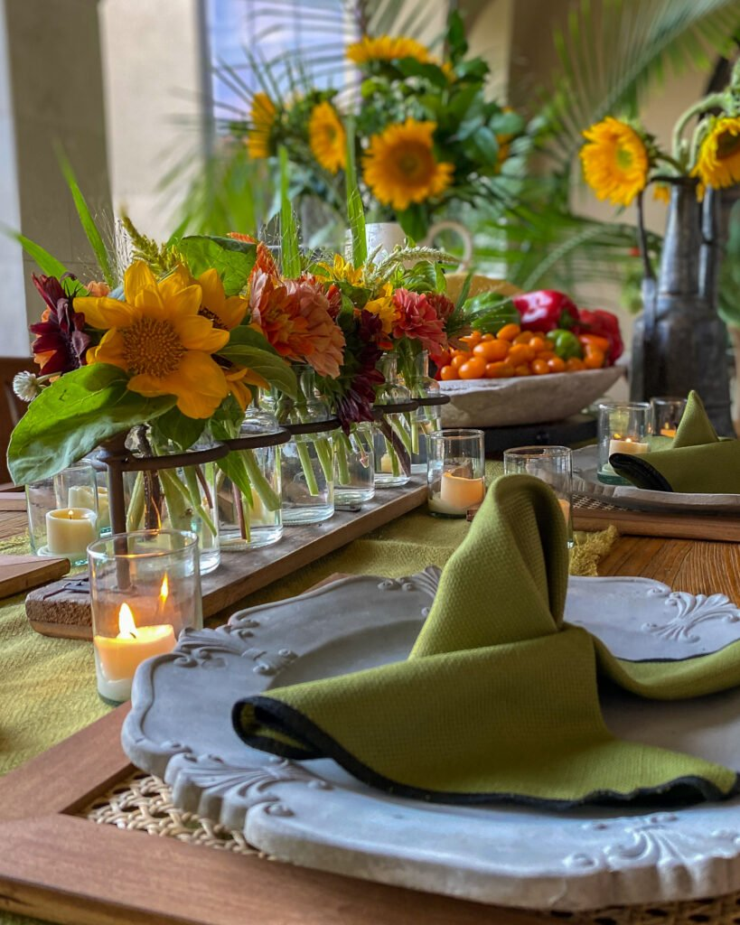 sunflowers and summer vegetable tablescape - J Dub By Design