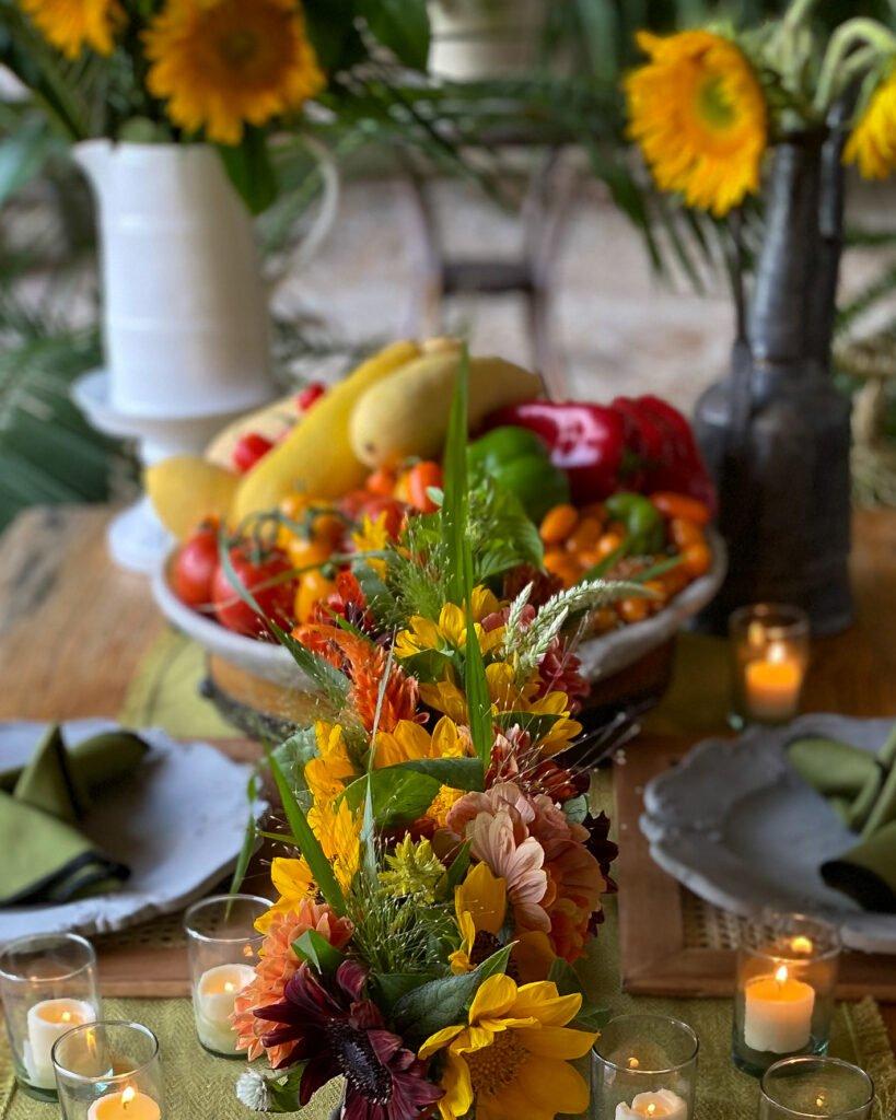 Sunflowers and fresh garden vegetables - J Dub By Design