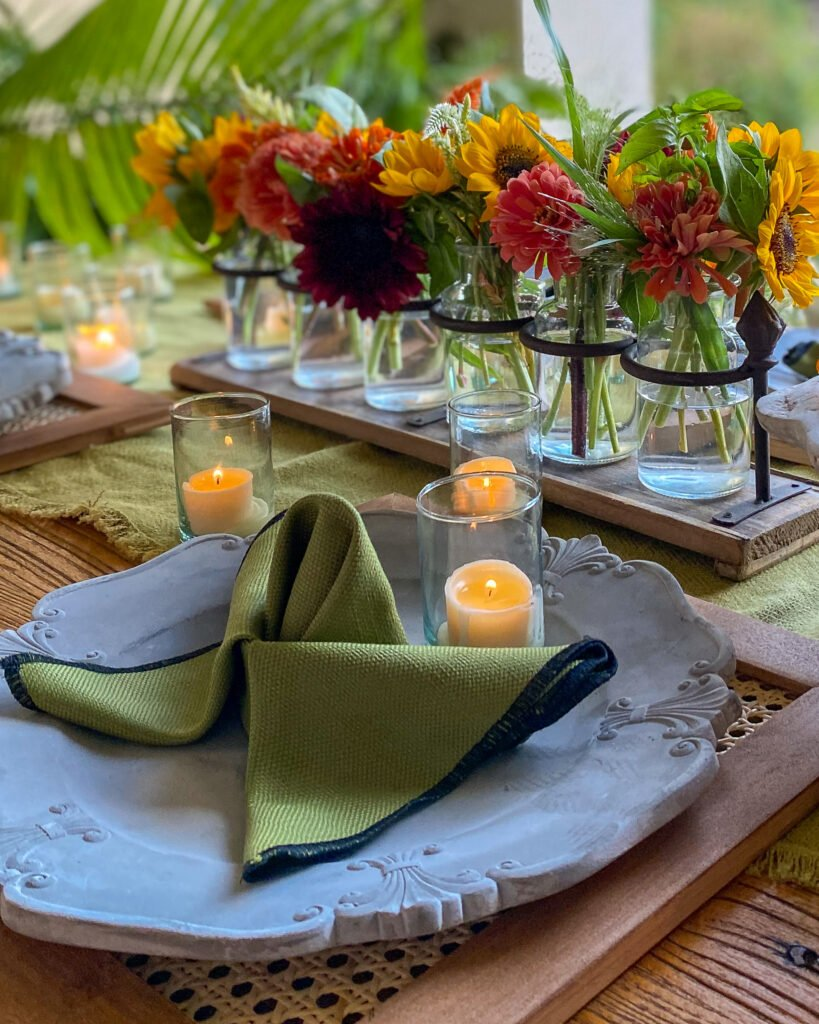 butterfly napkin votives and sunflowers