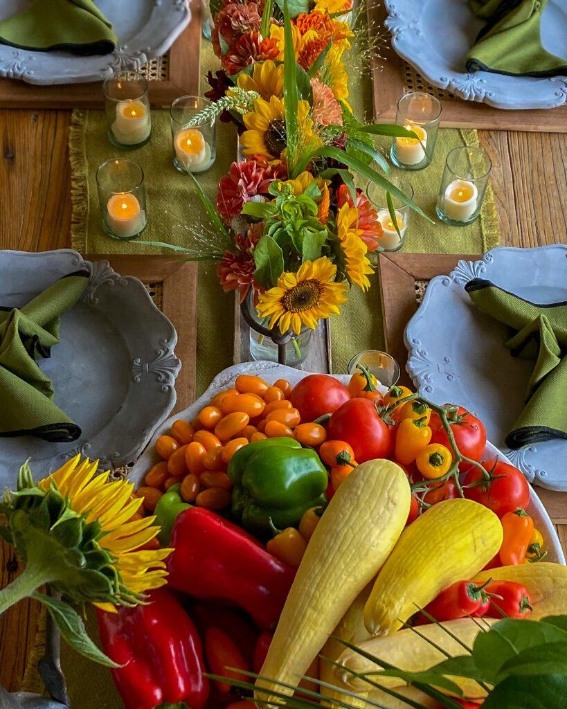 garden vegetables sunflowers and zinnias - J Dub By Design