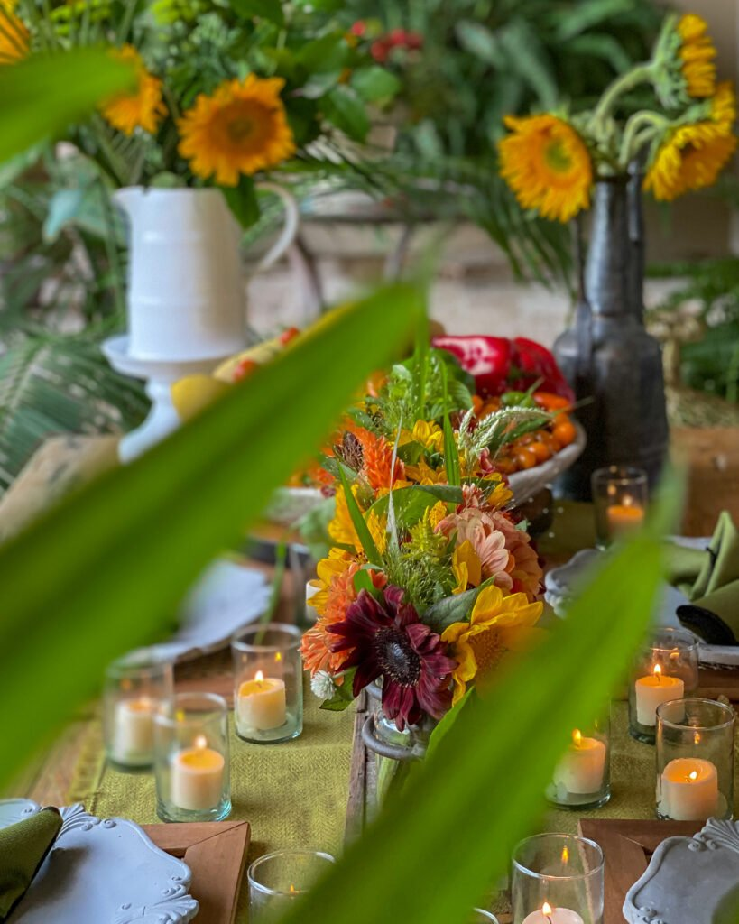 sunflowers and fresh vegetables on table - J Dub By Design