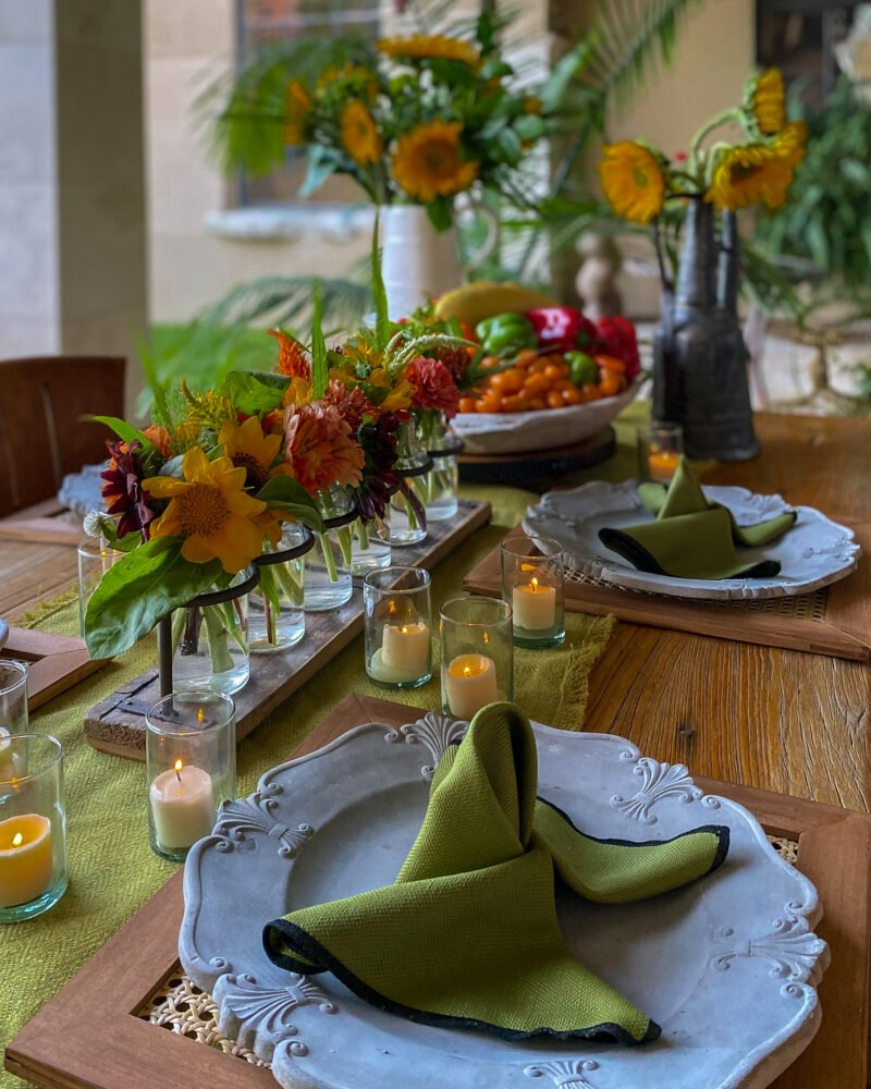 butterfly shaped napkins with sunflowers and zinnias - J Dub By Design