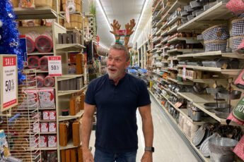 David Williams wearing reindeer antlers in Hobby Lobby - J Dub By Design