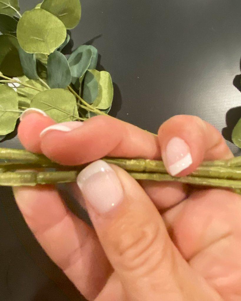 Handmade candle rings using eucalyptus picks - J Dub By Design