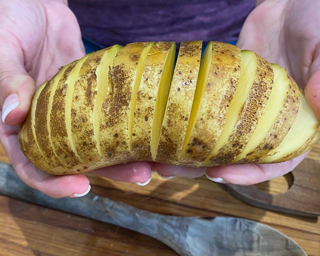 hasselback potato fanned out - J Dub By Design