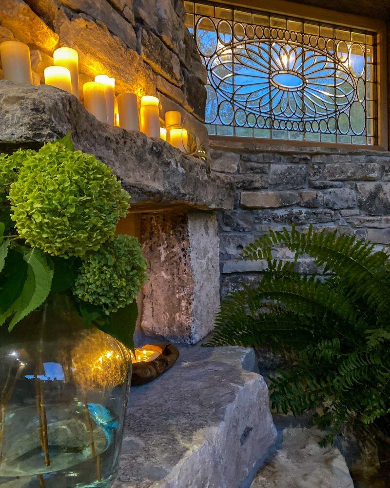 Fall mantel using hydrangeas, candles, and macho ferns - J Dub By Design