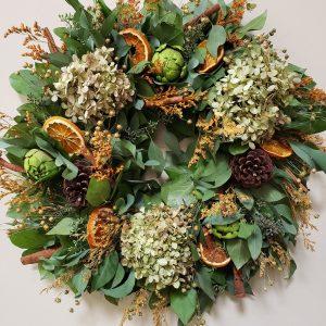 hydrangea, artichoke and eucalyptus wreath - J Dub By Design