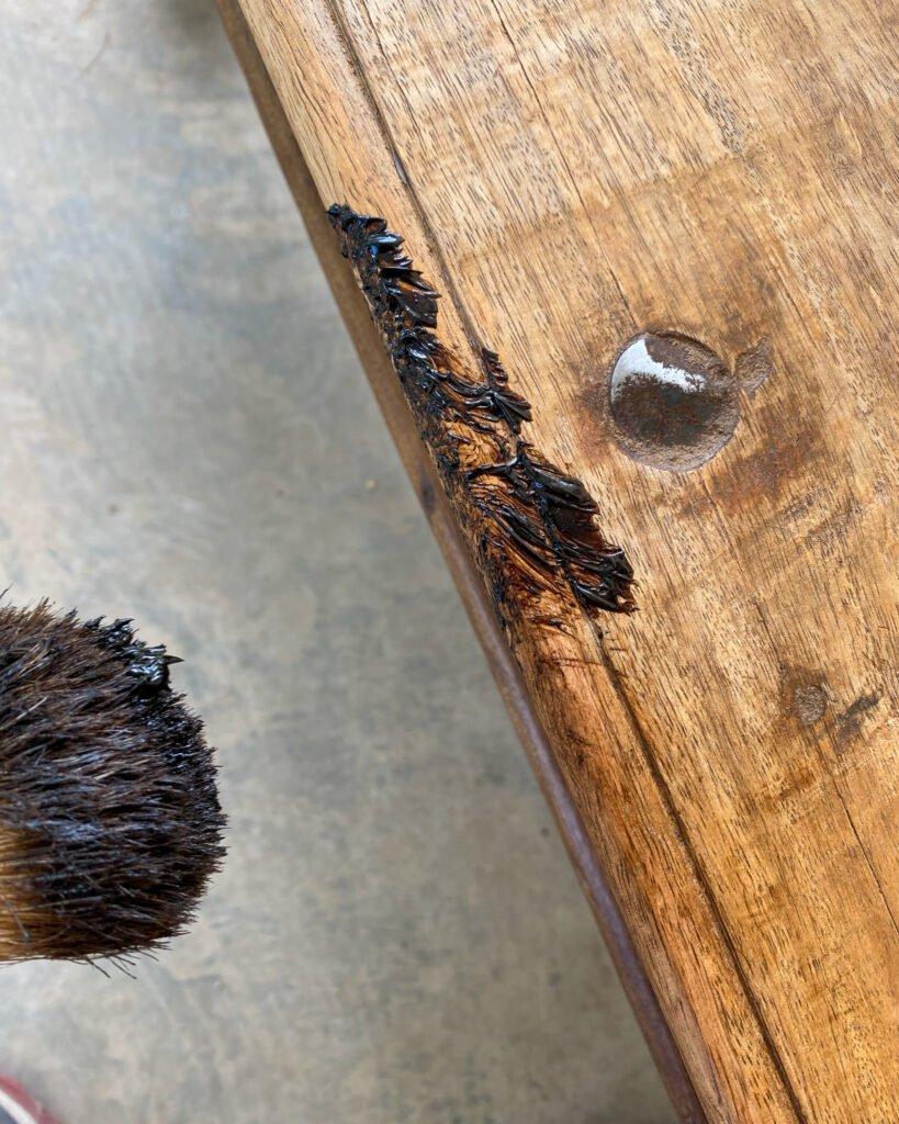 dark wax on the edges of a table - J Dub By Design