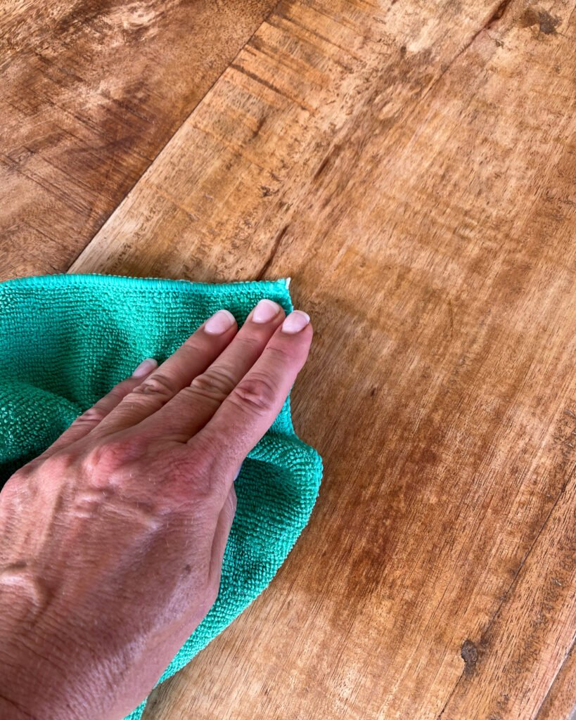 adding clear wax to the top of coffee table - J Dub By Design