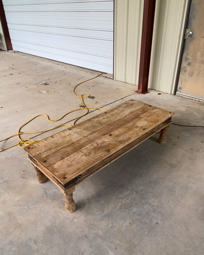 clean coffee table ready to be waxed - J Dub By Design