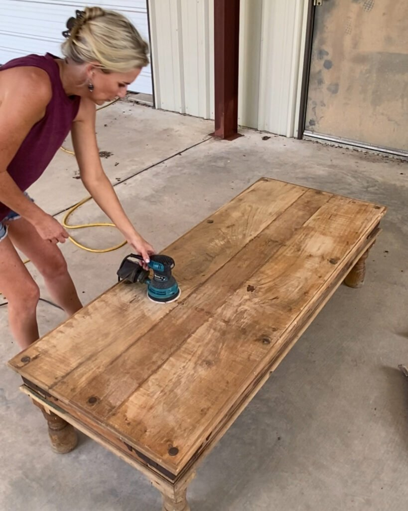 sanding a table to be waxed - J Dub By Design