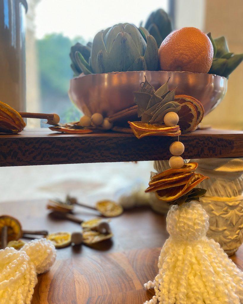 DIY Dried Orange slice and Wood Bead Garland - J Dub By Design