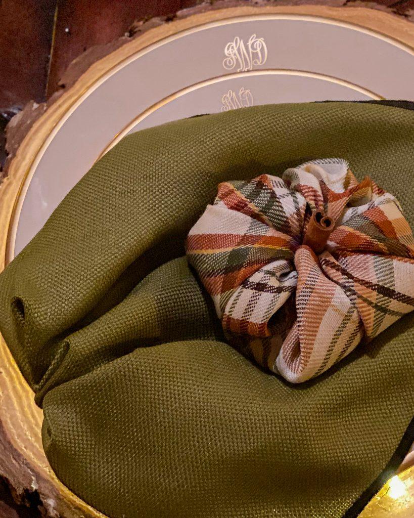 A leaf and pumpkin napkin - J Dub By Design