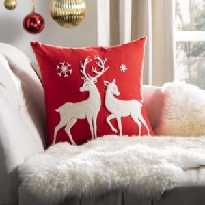 red and white reindeer pillow - J Dub By Design