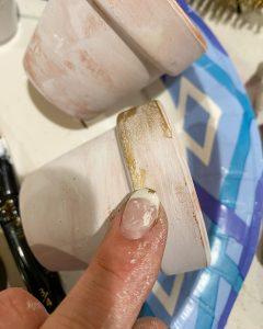 adding gilding wax to terra cotta pot - J Dub By Design