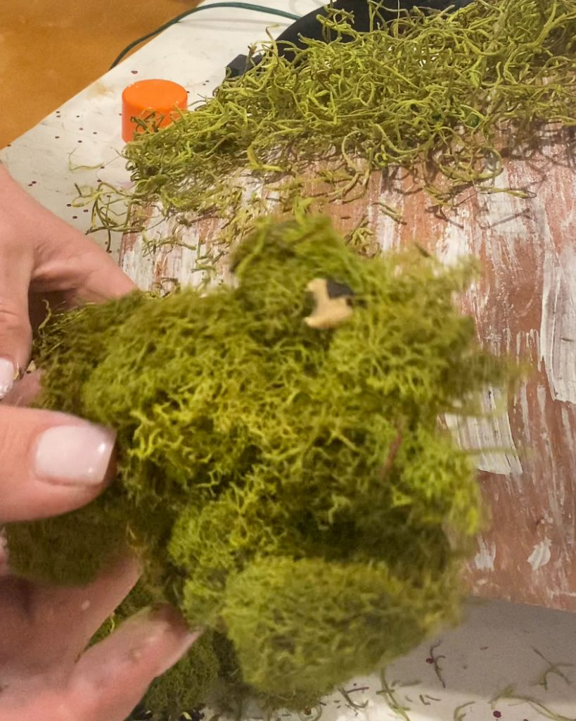 close up of moss to glue to pot - J Dub By Design™
