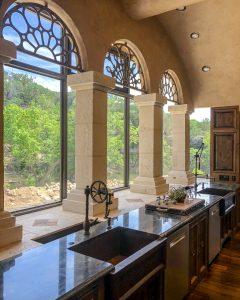 two copper kitchen sinks under windows - J Dub By Design™
