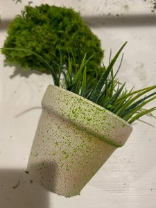 small pot with textured moss paint and faux grass - J Dub By Design™