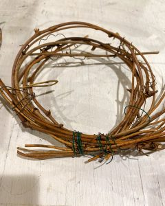 small grapevine wreath shaped into circle and secured with wire - J Dub By Design™