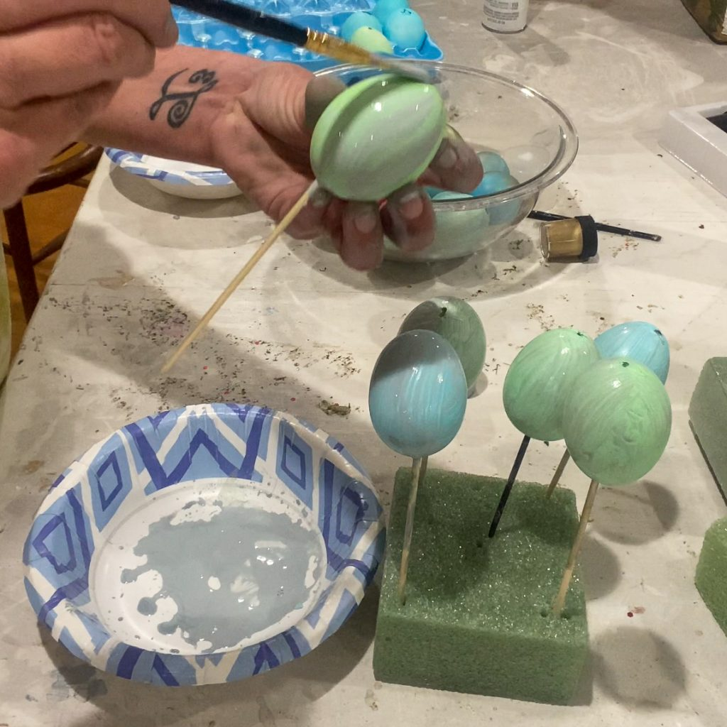 painting blue and green eggs with grey wash - J Dub by Design™