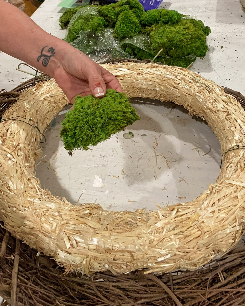 adding green reindeer moss to wreath form - J Dub By Design™