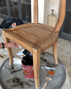 beginning the staining process on wood chair - J Dub By Design™
