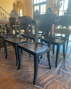 six wood dining chairs with fresh stain and topcoat sitting on plastic - J Dub by Design™