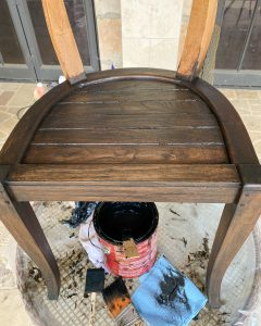 first coat of stain applied to the seat of the wooden chair - J Dub By Design™