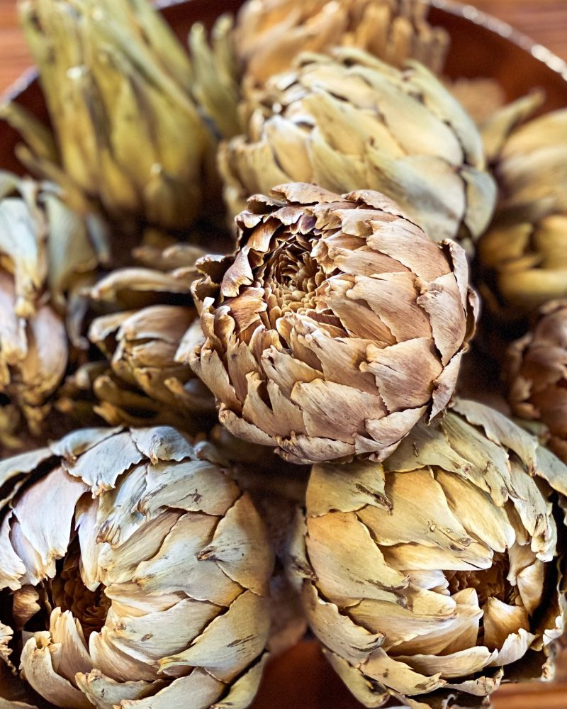 closeup of dried artichokes in a copper bowl - J Dub By Design™