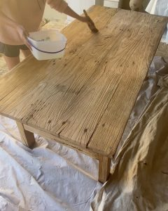 painting bleach on the table top - J Dub By Design™