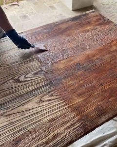 Citritstrip removal using a putty knife on table - J Dub By Design™