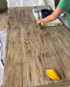 dry brushing black walnut. stain on elmwood table - J Dub By Design™