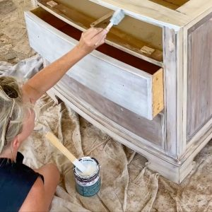 using a foam brush to apply Minwax color wash to nightstand - J Dub BY Design™