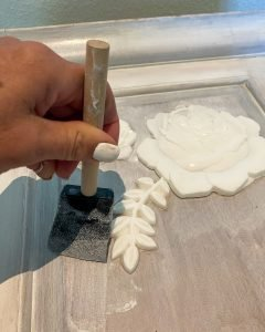 using a foam brush to apply a third coat of Minwax color wash to the dresser - J Dub By Design™