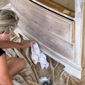 using a lint free cloth to wipe back the excess Minwax color wash - J Dub By Design™