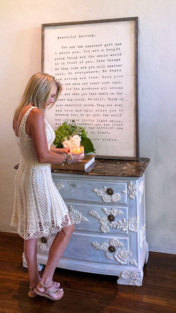 Jennifer styling the nightstand after makeover - J Dub By Design™