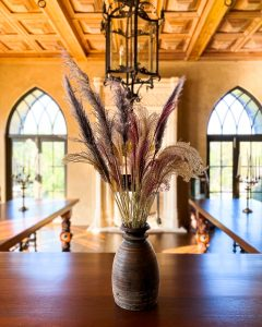 Dyed Pampas grasss in wood vase sitting on dining room table - J Dub By Design™