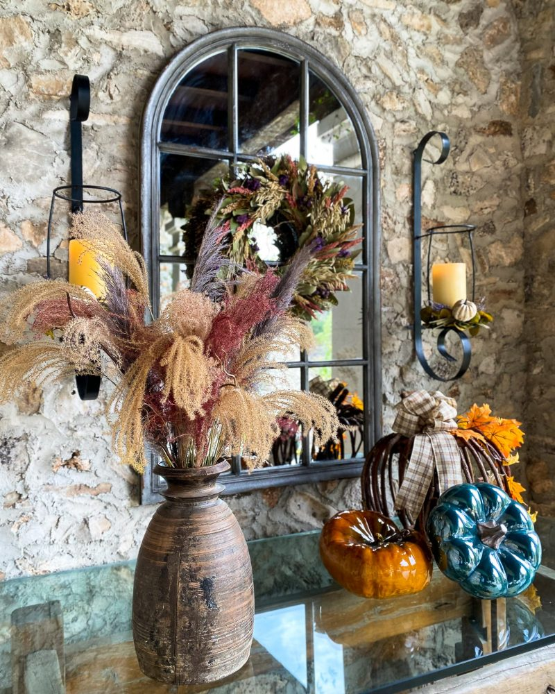 Fall color on a console table and mirror outside - J Dub By Design™